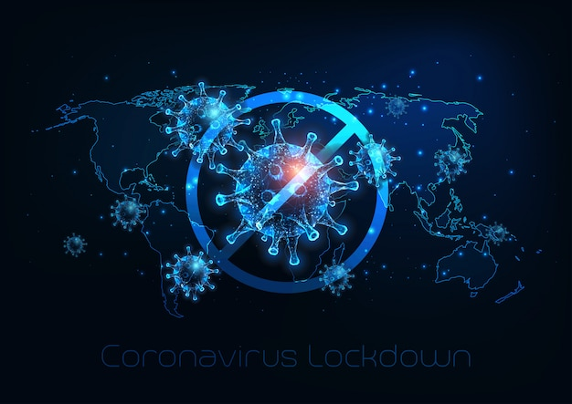 Futurystyczny globalny blokada spowodowana chorobą koronawirusa covid-19. zatrzymaj wirusa