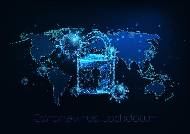 Futurystyczny globalny blokada z powodu choroby koronawirusa covid-19 z komórkami wirusa, kłódką, mapą świata