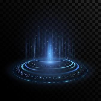 Futurystyczny hologram portalu z elementami interfejsu hud na przezroczystym tle.