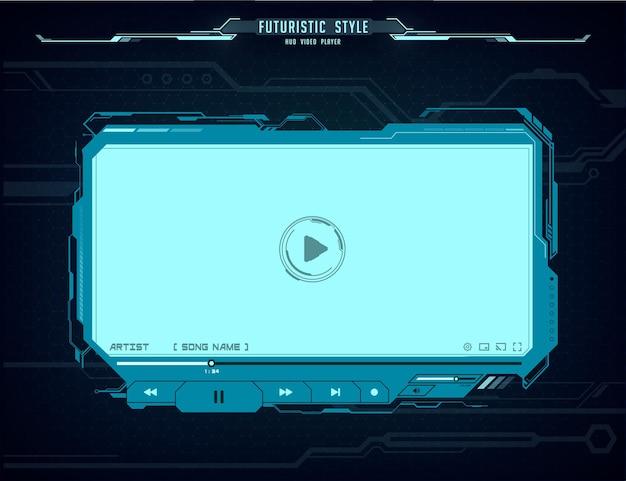 Futurystyczny interfejs ekranu odtwarzacza wideo hud. neon świecący interfejs użytkownika, zaawansowane technologicznie projektowanie skórek ux dla treści multimedialnych filmów online. cyfrowy szablon ski-fi z przyciskiem odtwarzania, paskiem menu i suwakiem