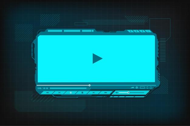Futurystyczny interfejs ekranu odtwarzacza wideo hud.