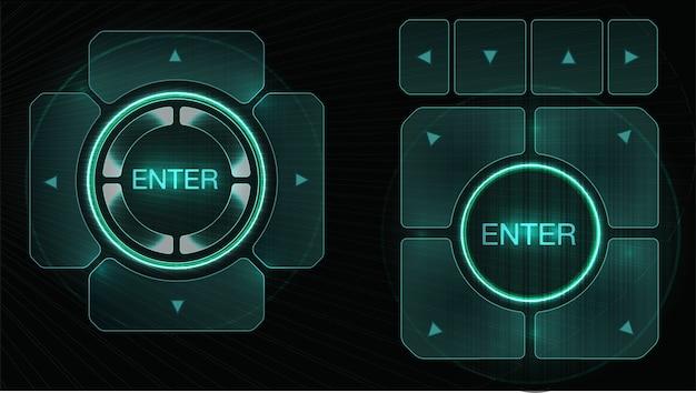 Futurystyczny interfejs elementów projektu hud. zestaw strzałek. temat technologii i nauki.