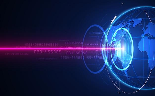 Futurystyczny interfejs globalizacji, poczucie nauki i technologii abstrakcyjna grafika.