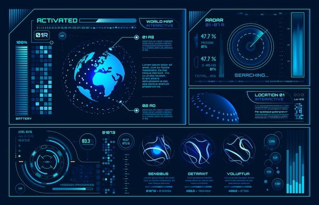 Futurystyczny interfejs hud, plansza interfejsu użytkownika z hologramem przyszłości, interaktywna kula ziemska i tło ekranu nieba cyber cyber