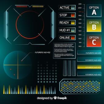 Futurystyczny interfejs hud ze stylem gradientu