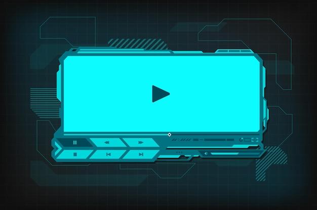 Futurystyczny interfejs odtwarzacza wideo hud. wektor cyfrowy szablon ski-fi z przyciskiem odtwarzania, paskiem menu i suwakiem na neonowym świecącym ekranie. ui, ux zaawansowane technologicznie projektowanie skórek dla treści multimedialnych filmów online
