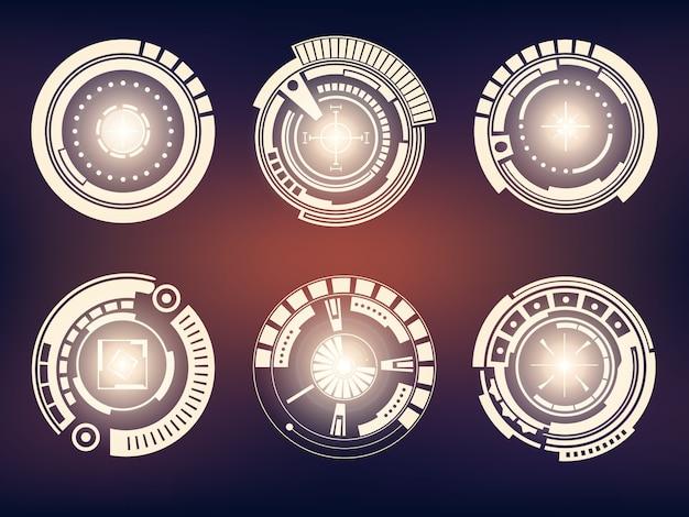 Futurystyczny interfejs technologiczny zestaw interfejsu użytkownika hud.