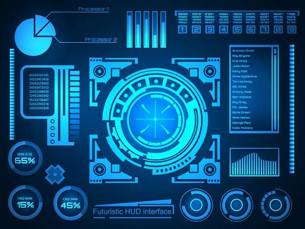Futurystyczny interfejs technologii tło interfejsu hud.