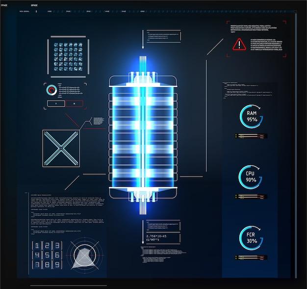 Futurystyczny interfejs użytkownika hud i elementy plansza. streszczenie wirtualnej grafiki