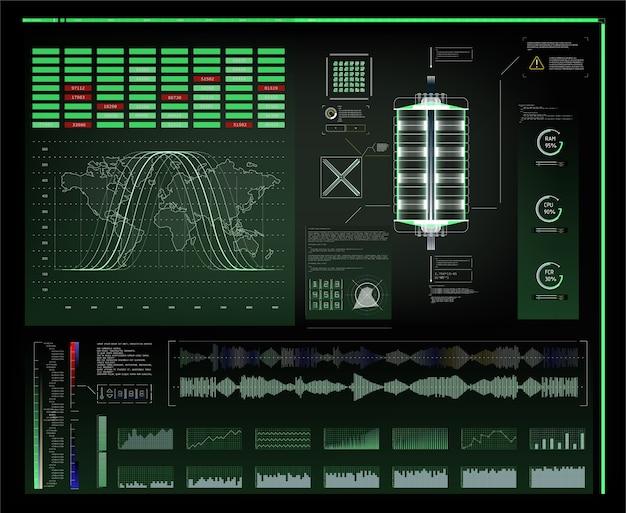 Futurystyczny interfejs użytkownika hud i elementy plansza