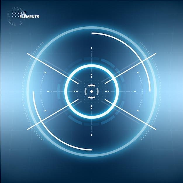 Futurystyczny interfejs użytkownika hud sci-fi okrąg element wirtualna rzeczywistość. abstrakcyjne tło. przezroczystość ekranu