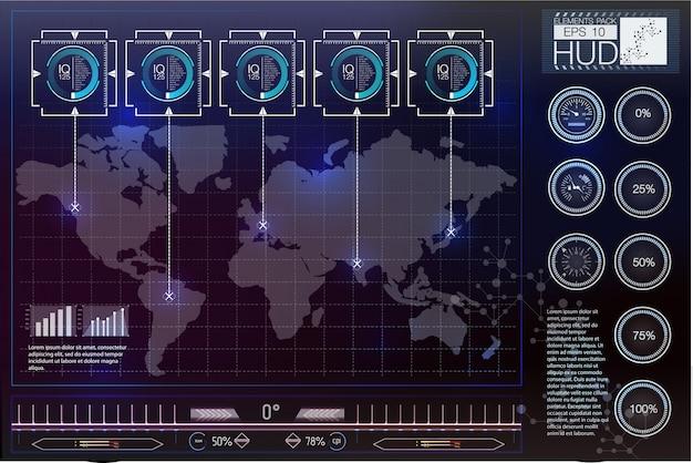 Futurystyczny interfejs użytkownika. hud tle przestrzeni kosmicznej. plansza elementów.
