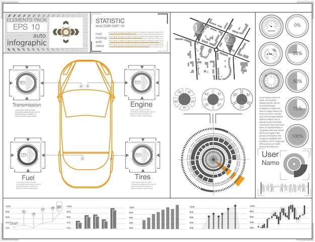 Futurystyczny interfejs użytkownika hud ui abstrakcyjny wirtualny graficzny dotykowy interfejs użytkownika infografika samochodów