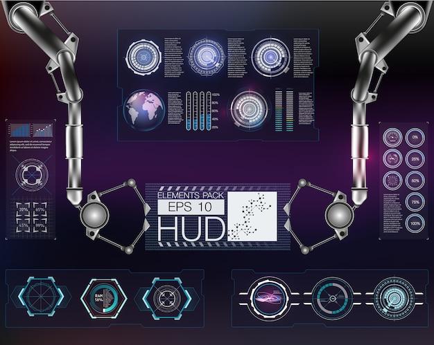 Futurystyczny interfejs użytkownika. hud ui. streszczenie wirtualny graficzny interfejs użytkownika dotykowy.