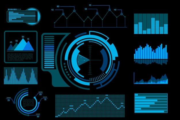 Futurystyczny interfejs użytkownika w kolorze niebieskim. systemowy ekran wyświetlacza, cyfrowy elektroniczny pulpit nawigacyjny z infografiką.