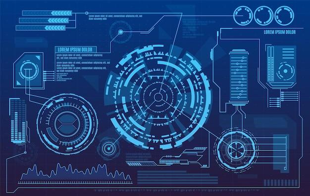 Futurystyczny interfejs użytkownika z cyfrowymi infografikami i wykresami danych