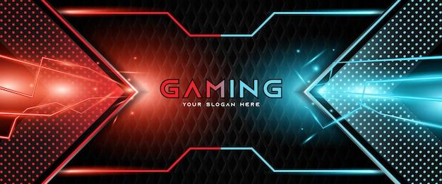 Futurystyczny jasnoczerwony i niebieski nagłówek do gier szablon banera mediów społecznościowych