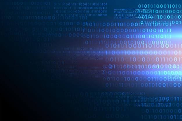 Futurystyczny kod binarny liczy danych cyfrowych tło