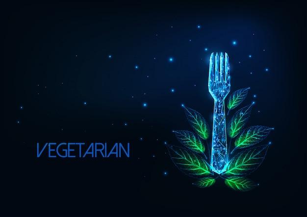 Futurystyczny koncepcja menu restauracji wegetariańskiej ze świecącym niskiej wielokąta widelcem i zielonych liści
