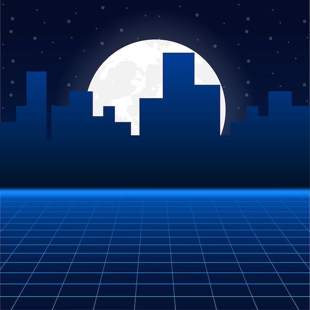 Futurystyczny krajobraz ze stylizowaną siatką laserową. neon retrowave