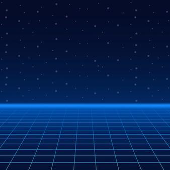 Futurystyczny krajobraz ze stylową siatką laserową.