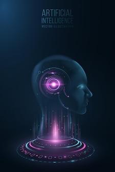 Futurystyczny model ludzkiej twarzy z interfejsem na głowie