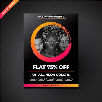 Futurystyczny modern neon fashion sale flyer