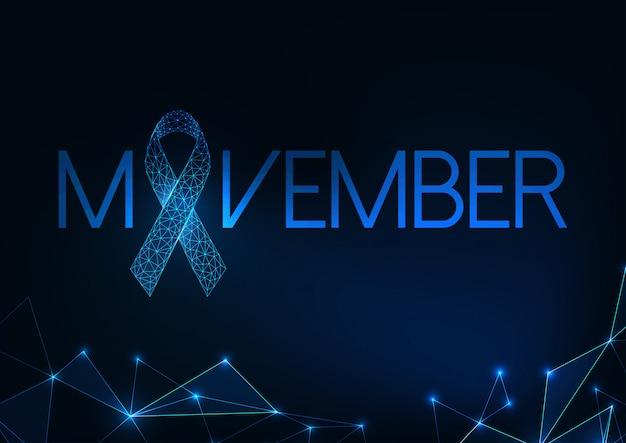 Futurystyczny movember - prosty baner internetowy miesiąca świadomości raka ze świecącą nisko wielokątną wstążką.