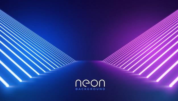Futurystyczny neon świateł scenicznych tle podłogi