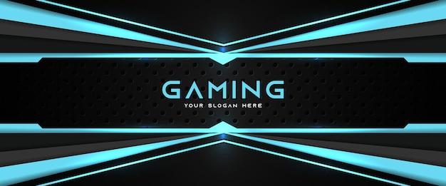 Futurystyczny niebieski i czarny nagłówek do gier szablon banera mediów społecznościowych