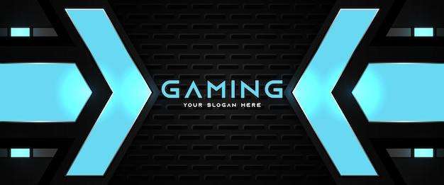 Futurystyczny niebieski i czarny szablon banera mediów społecznościowych do gier