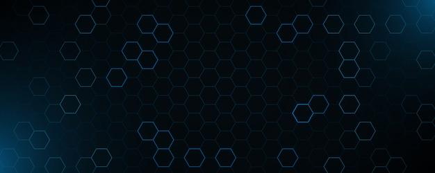 Futurystyczny niebieski neon o strukturze plastra miodu.