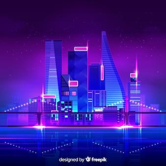 Futurystyczny noc miasto tło