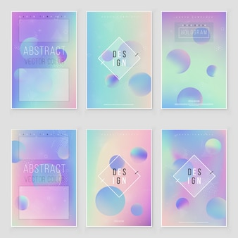 Futurystyczny nowoczesny zestaw okładek holograficznych. styl retro z lat 90-tych, 80-tych.