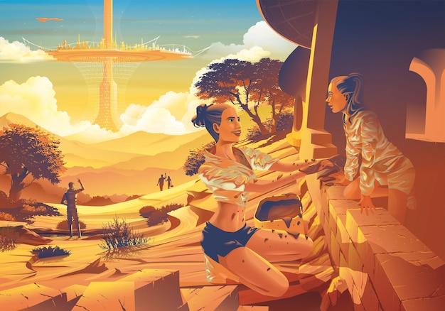 Futurystyczny obraz z dalekiej przyszłości rodziny pomagającej sobie nawzajem w budowie ziemskiego domu z latającym futurystycznym miastem w tle.