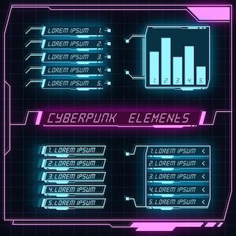 Futurystyczny panel scifi kolekcja elementów hud projekt gui vr ui cyberpunk neon blask w stylu retro