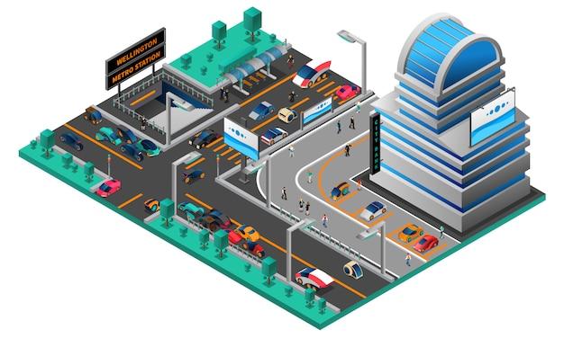 Futurystyczny pejzaż miejski izometryczny skład