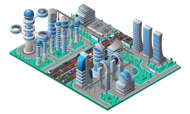 Futurystyczny pejzaż miejski izometryczny szablon