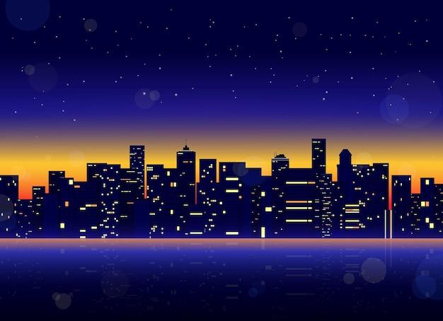 Futurystyczny pejzaż miejski ze świecącymi neonowymi fioletowymi i niebieskimi światłami.