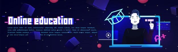 Futurystyczny płaski banner edukacji online