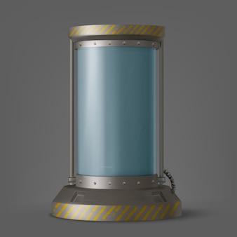 Futurystyczny pojemnik na kapsułki cryonics ze szklaną rurką i cieczą kriogeniczną do hibernacji na statku kosmicznym lub laboratoryjnej technologii naukowej w zamrażarce scifi