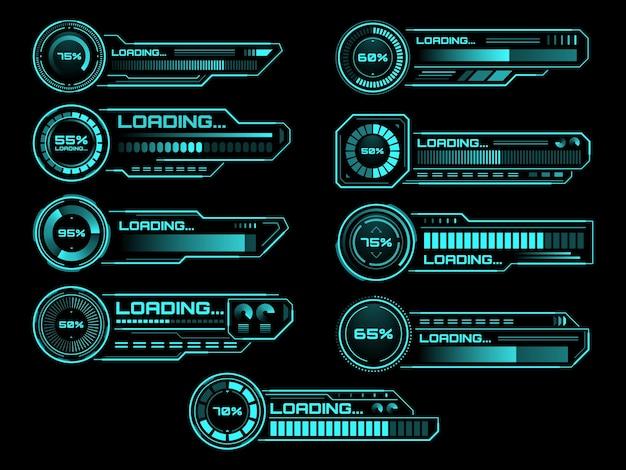 Futurystyczny proces ładowania hud i paski stanu, ikony interfejsu wektorowego. paski ładowania hud na ekranie cyfrowym dla przyszłej technologii, ładowania mocy i paski pobierania dla interfejsu panelu użytkownika gry