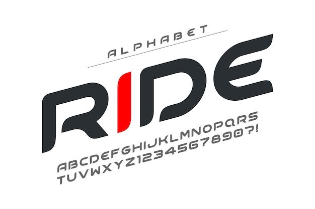 Futurystyczny projekt alfabetu, krój pisma, litery i cyfry.