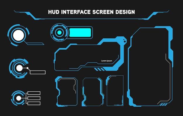 Futurystyczny projekt ekranu interfejsu hud. cyfrowe tytuły objaśnień. zestaw elementów futurystycznego interfejsu użytkownika hud ui gui. zaawansowany ekran do gier wideo. koncepcja sci-fi.