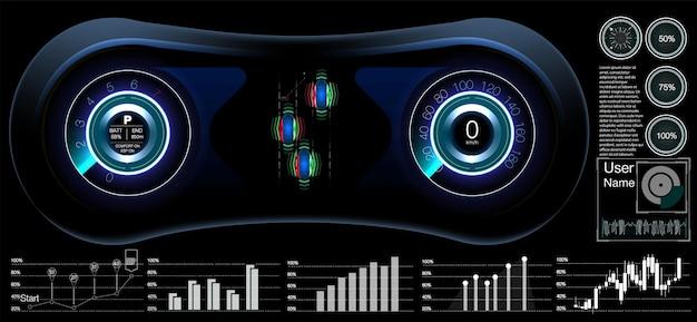 Futurystyczny projekt ekranu interfejsu hud. projekt koncepcyjny scifi.