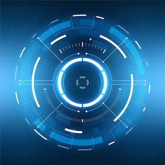 Futurystyczny projekt ekranu interfejsu hud wektor science fiction. wyświetlacz wizjera w technologii wirtualnej rzeczywistości