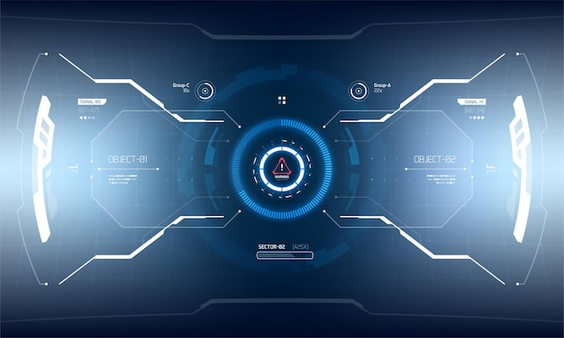 Futurystyczny projekt ekranu interfejsu hud wektorowego. technologia wirtualnej rzeczywistości sci-fi zobacz wyświetlacz