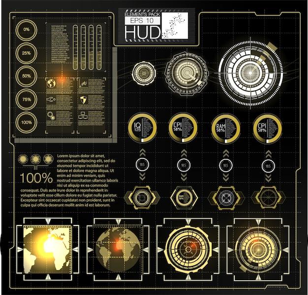 Futurystyczny projekt ekranu interfejsu hud wektorowego. tytuły objaśnień cyfrowych. hud ui gui