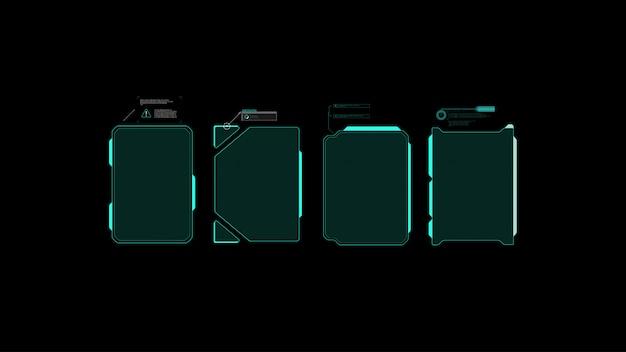 Futurystyczny projekt ekranu interfejsu hud wektorowego. tytuły objaśnień cyfrowych. hud ui gui.