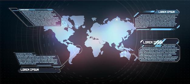 Futurystyczny projekt ekranu interfejsu hud wektorowego. tytuły objaśnień cyfrowych. zestaw elementów ekranu futurystycznego interfejsu użytkownika hud ui gui. ekran high-tech do gier wideo. projekt koncepcyjny science-fiction.